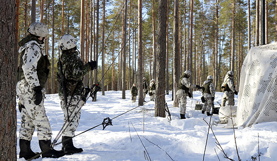 Soldiers in a snowy forest