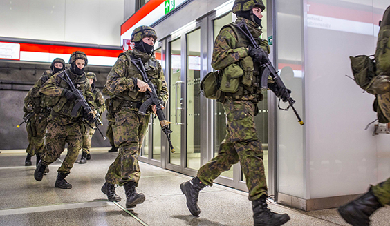 Soldiers practice at the subway station