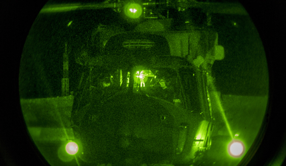 NH90 helicopter through Night Vision Device